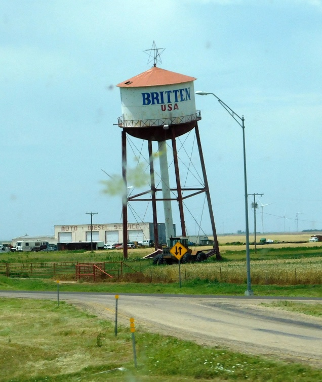 The leaning water tower of Groom, Texas. Actually the down pipe acts as a leg and the tower is safe. This was once a landmark for a long ago closed truck stop and the tower is all that remains.