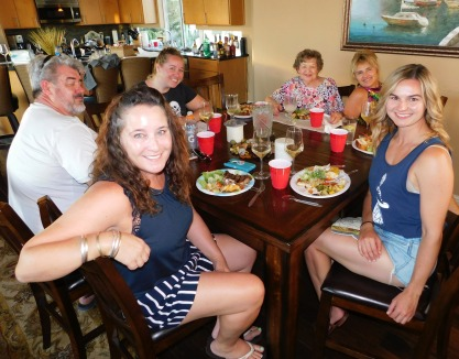 The indoor diners enjoying the barbecued dinner. (L-R) Dean, Melissa, Breanne, Lavonne, Laura, and Carly.