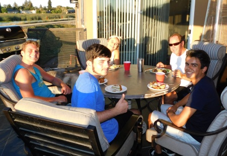 The balcony diners. (L-R) Connor, Aidan, Kendall, Craig, and Jimmy (Connor's friend).