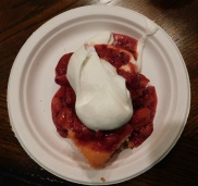 There was strawberry shortcake for dessert.