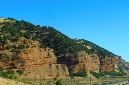Huge, colorful formations along I-80.