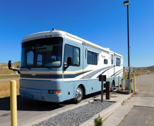 The Wyoming welcome center offered free RV dumping. Thanks, Wyoming!