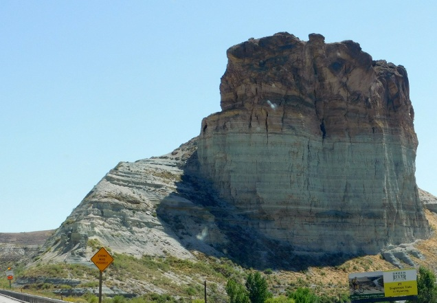 This huge castle looking formation stands next to I-80 overlooking the town of Green River, WY.