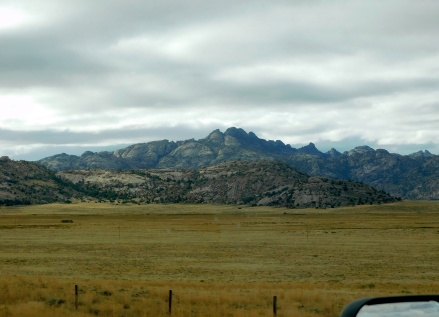 A beautiful, rocky mountain along WY220.