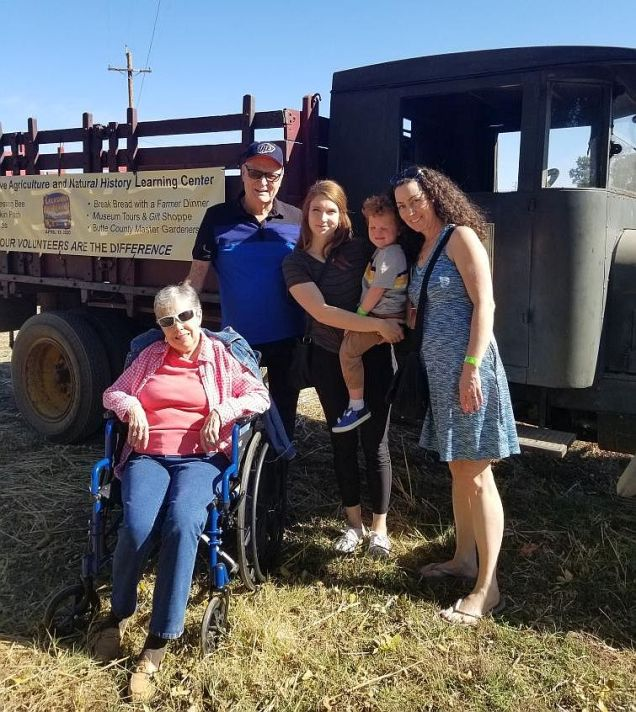 Gale, John, Kyleigh, Ceddie and Jill at the patch.