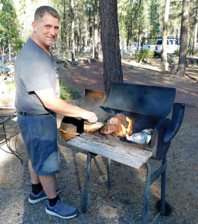 2020-8-14h Craig BBQing rib eye - delicious!