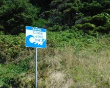 "There were dozens of these signs along the drive, some less than a mile apart, announcing entering or leaving a tsunami area. It seemed an awful waste of money - why not one every ten miles or so advising of the ""danger""?"