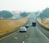 I-5 through the valley was smoky - and dry, brown, and ugly!