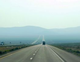 Wide open, nearly empty, and smoky I-80. I was luvin' it! (But not so much the smoke.)