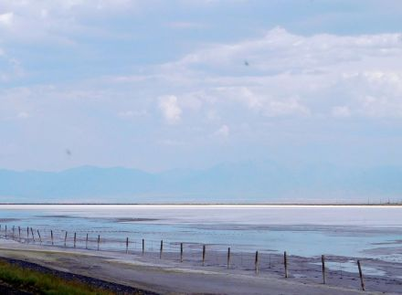 The salt flats go on and on and on for 100 miles.