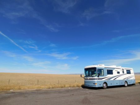 Parked in the wilderness along I-80 in Wyoming for lunch.