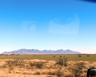 This appears to be a desert cattle ranch. Note the beautiful mountains.